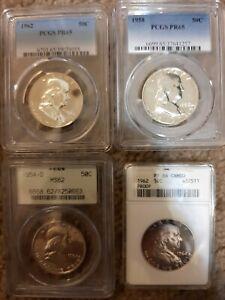 Half Dollars 3 by PCGS 1 ANACS 1962 / 1958 PR65 x2 1962 PF66 1954-D MS62