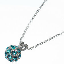 4.0 Ct Round Cut Style Shape Blue Topaz 18K White Gold Plated Pendant