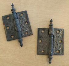 Lot of 2 Antique Vintage Victorian Cast Iron Hinges 3x3 Door Cupboard Cabinet