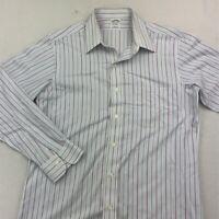 Brooks Brothers Mens Dress Shirt White Blue Stripe Extra Slim Fit Pocket 15 1/2