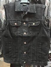 GILET VEST MOTO DENIM JEANS BLACK NERO BIKER HARLEY SMANICATO TG. M CLUB PATCHES