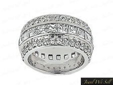 Natural 2.70Ct Princess Diamond 3Row Eternity Band Ring Platinum G SI1 Channel