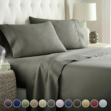 Egyptian Comfort 1800Tc 4 Pcs Flat Fitted Bed Sheet Set Deep Pocket Most Size