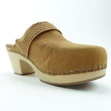 Toms Womens Elisa Clog Shoes Brown Buckle Platform Heels Leather Slip Ons 6 New
