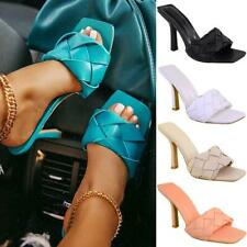 Womens High Heels Woven Fashion Sandals Party Stilettos Strap Designer Mule Sz
