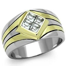 14K GOLD EP 1.0CT MENS DIAMOND SIMULATED 2T DRESS RING  size 8-13 YOU CHOOSE