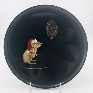 Vtg MCM Couroc Black Lacquer Christmas Tray Mouse Santa Hat Clock California