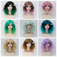 "14"" Popular Curly Lolita Medium Heat Resistant Women Cosplay Ombre Wig+Wig Cap"