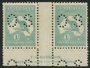Third Watermark:  1/- Blue-Green, perforated OS, Harrison Imprint pair, MUH