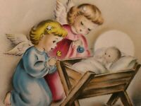 Vtg Norcross Christmas Greeting Card Angels Pink Blue Baby Crib/Manger 1940s