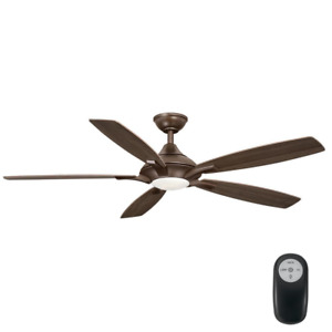 56 Inch Ceiling Fan with LED Light Remote Control Kit 5 Blades Oil Rubbed Bronze