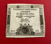French assignat banknote 15 sols October 24 1792 series 673 XF