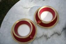Ruby Wedgwood Ulander W1813 Peony 7 cups & Saucers, one bread butter plate