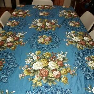 Vintage 1970s Set of 2 Boroque style Floral Heavy Sateen Curtain Fabric Panels