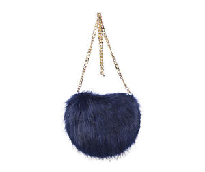 New Funky Faux Fur Cross Body Bag in Brown or Midnight Blue & Chain Strap