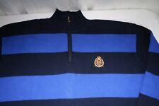 Ralph Lauren Men's X Large Knit Cotton Sweater Rugby Stripe Navy Blue 1/4 Zip