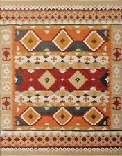 Geometric Kilim Oriental Area Rug Wool Hand-Woven Navajo Turkish Carpet 5'x8' ft
