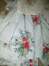 Ralph Lauren Chaps Nantucket Floral Stripe Bed Skirt Dust Ruffle Full Eec!