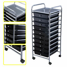 10 Drawer Rolling Storage Cart Scrapbook Paper Office School Organizer Black
