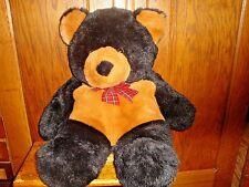 Large Commonwealth Brown Black 2 Tone Teddy Bear Plush Bow Tie Stuffed Animal