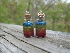RAINBOW Gradient Glitter Resin VIAL Glass Bottle Jar Pendant Charm Necklace