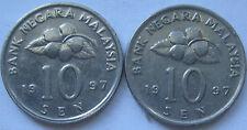 Malaysia 10 sen 1997 coin 2 pcs