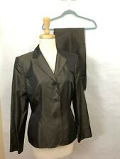 Ann Taylor Women's Pant Suit Jacket Pants 8 Silk Shimmer Brown Business