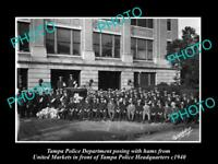 OLD LARGE HISTORIC PHOTO OF TAMPA FLORIDA, VIEW OF THE POLICE DEPARTMENT c1940