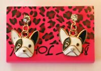 Betsey Johnson Crystal Rhinestone Enamel Bulldog Dog Post Earrings