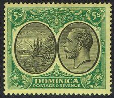 DOMINICA 1923 KGV SHIP 5/- WMK MULTI SCRIPT CA