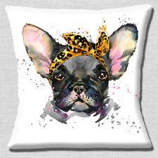 """French Bulldog Cushion Cover 16""""x16"""" 40cm Artistic Modern Design Black Grey Dog"""