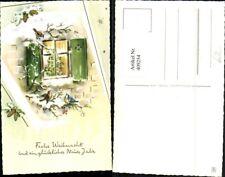 409254,Künstler AK Weihnachten Fenster Vögel Zapfen