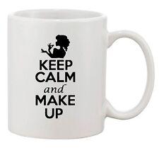 Keep Calm And Love Make Up Beautiful Beauty Girls Funny Ceramic White Coffee Mug