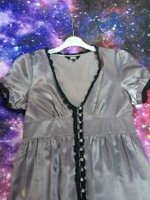 ASOS Silver Satin Button Up Tea Dress,size 8,look!