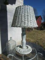 """Vintage Wicker Table Lamp w/Wicker shade - works  20"""""""