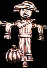 """BEST BRONZE FALL AUTUMN THANKSGIVING SCARECROW PIN BROOCH PENDANT 2.5"""" MOVABLE"""