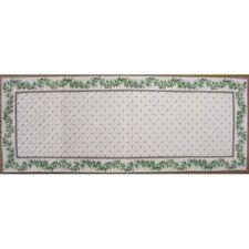 Chemin de table calissons olivettes matelassé écru vert cadre écru 1 m x  38 cm