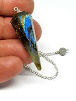 Labradorite Point Dowsing Pendulum Crystal Dream Recall Reduce Stress & Anxiety