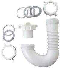Plumb Shop, Master Plumber, White Plastic Flexible Lavatory/Kitchen Drain J Bend