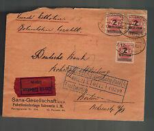 1923 Germany Inflation cover to Berlin Bahn Post Express Deutsche Bank