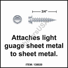 (10000) 8x3/4 Slotted Hex Washer Head Zinc Plated Needle Point Screw #138020