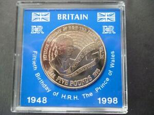 1998 £5 COIN CASED THE 50TH BIRTHDAY OF PRINCE CHARLES BRILLIANT UNCIRCULATED