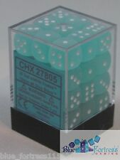 CHESSEX FROSTED 12mm SET OF 36 D6 TEAL WITH WHITE DICE MTG POKEMON