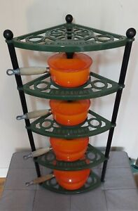 Le Creuset Green Cast Iron Pan Stand with 4x Volcanic Pans 16, 18, 20,22 RARE