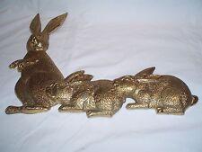 "Vintage Brass Mommy Rabbit & Bunnies Wall Hanging Decor 12.5"" Tall X 16"" Long"