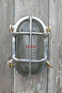 Superb oval polished ship bulk head passageway wall light nautical lamp
