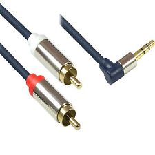 Voll-METALL ab-ge Winkel-t 1m Klinke-n Cinch STECKER Anschluß Kabel 3,5mm 1 m