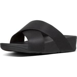 FitFlop LuLu Shimmerlux Cross Slide Womens Black Strappy Sandal Size 4-8