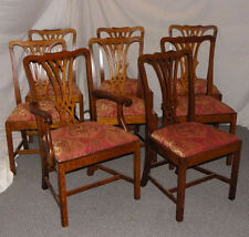 Set Of 8 Matching Antique Oak Dining Chairs Padded Seats Ready To Be Used