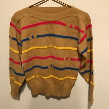 Vintage Women's Dona Marie Brown Sweater w/Colorful Stripes and Stars ~ Size M